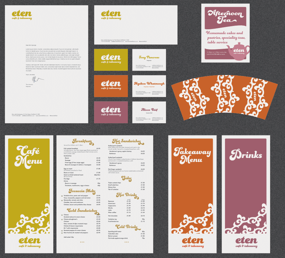 Café branding, stationery, menus