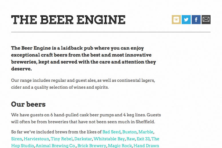 Beer Engine website screen grab