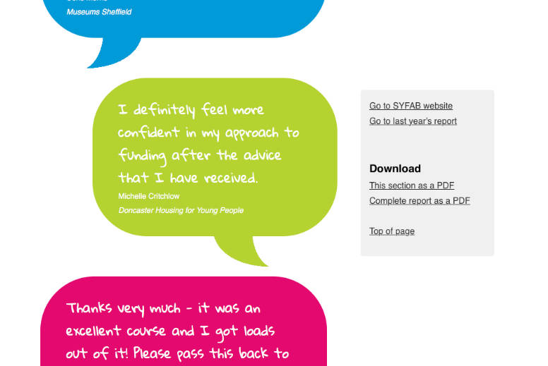 Annual report website screen grab –testimonials