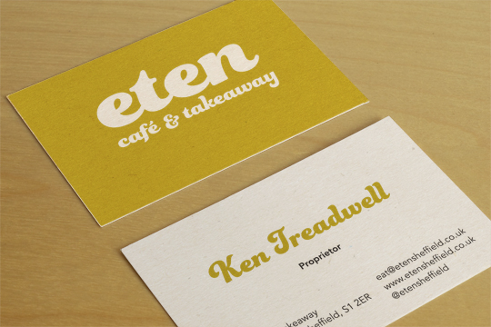 Branding stationery design in sheffield eten business cards sheffield cafe colourmoves Choice Image