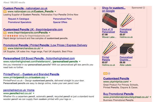 Screen grab: Google ads